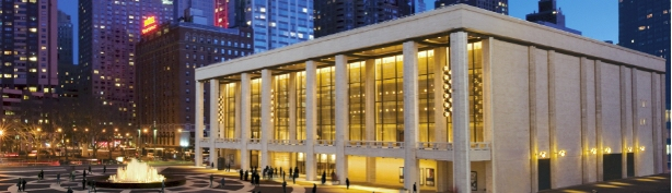 Exterior and view from stage of Lincoln Center's David H. Koch Theater. 2012. Lincoln Center