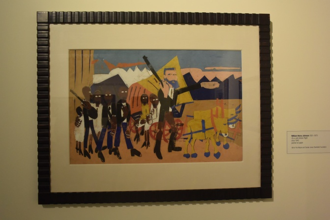 "William H. Johnson (1901-1970) ""On a John Brown Fight"" circa 1945 pochoir on paper Greenville County Museum of Art. Photo by Erin K. Hylton 2016."