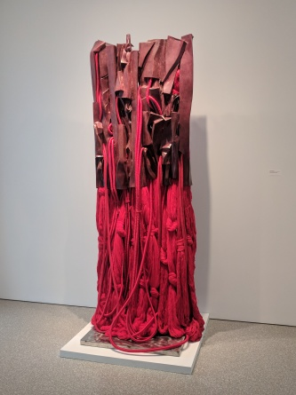 "Barbara Chase-Riboud ""Malcolm X #16"" bronze with red patina, silk, wool, polished cotton and synthetic fibers with steel support. Photo by Erin K. Hylton 2017."