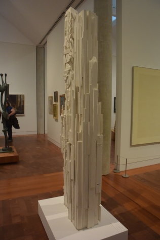 """Louise Nevelson """"Dawn's Wedding Feast Columns"""" 1959 wood with white paint"""