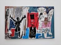 "Jean-Michel Basquiat ""Obnoxious Liberals"" 1982. Acrylic, oilstick, and spray paint on canvas. Photo by Erin K. Hylton 2018."