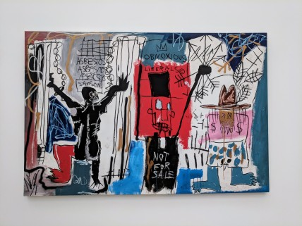 "Jean-Michel Basquiat ""Obnoxious Liberals"" 1982. Acrylic, oilstick, and spray paint on canvas. Photo by Erin K. Hylton 2018."