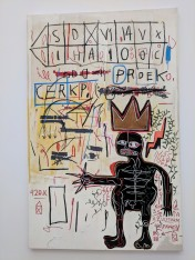 "Jean-Michel Basquiat ""with Strings Two"" 1983. Acrylic and oilstick on canvas. Photo by Erin K. Hylton 2018."