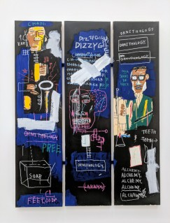 "Jean-Michel Basquiat ""Horn Players"" 1983. Acrylic and oilstick on three canvas panels mounted on wood supports. Photo by Erin K. Hylton 2018."