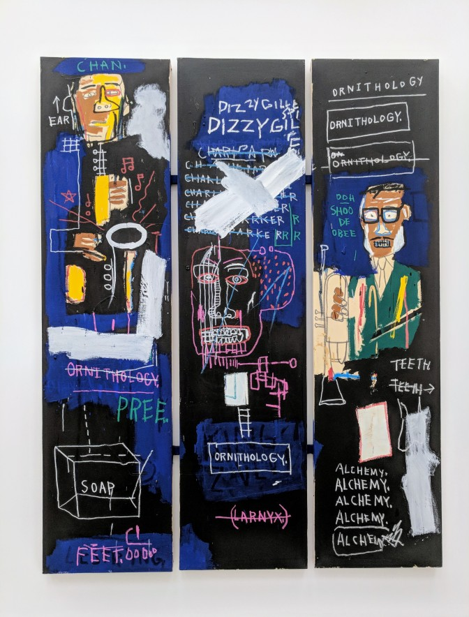 """Jean-Michel Basquiat """"Horn Players"""" 1983. Acrylic and oilstick on three canvas panels mounted on wood supports. Photo by Erin K. Hylton 2018."""